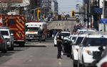 Law enforcement and first responders on scene at Yonge St. at Finch Ave. after a van plows into pedestrians in Toronto onApril 23, 2018.
