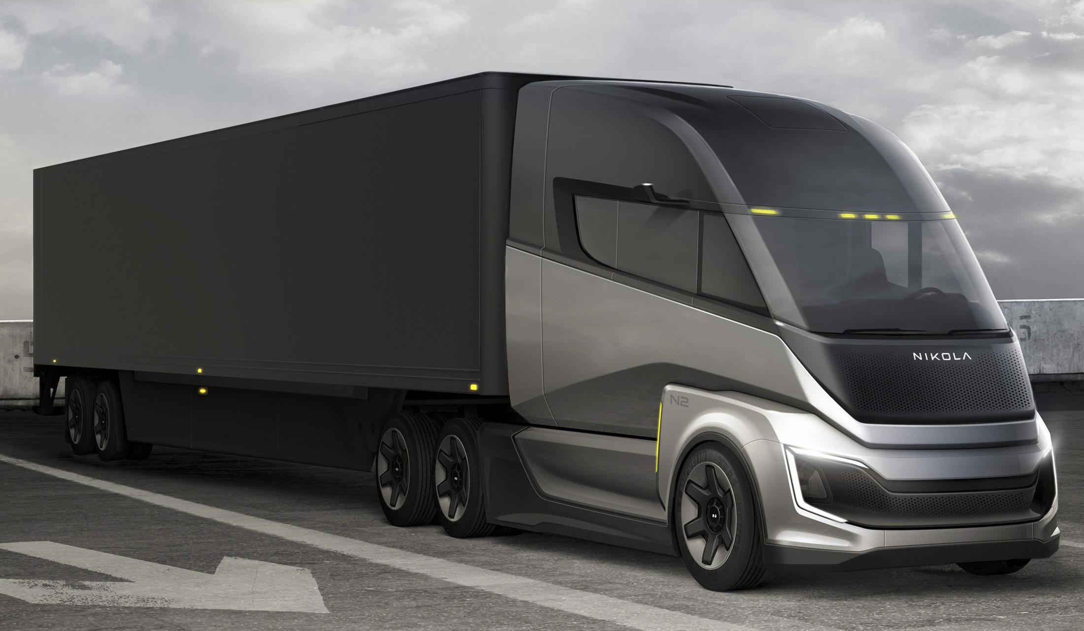 Nikola's Two FCEV Sleeper hydrogen freight hauler prototype.