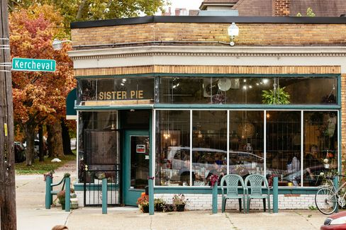 Sister Pie is in a beautiful corner building, previously a hair salon, that was built in 1925 in Detroit's West Village.