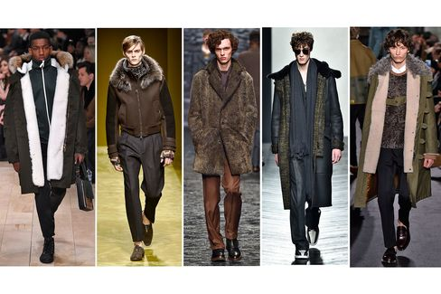 Masculine approaches to fur—including shearling and fur-lined hoods—from left to right: Burberry, Salvatore Ferragamo, Canali, Bottega Veneta and Valentino.