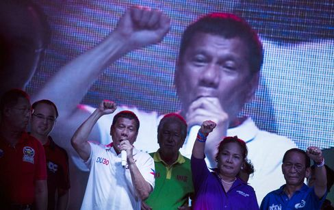 Davao City Mayor and Presidential Candidate Rodrigo Duterte Attends Election Rally