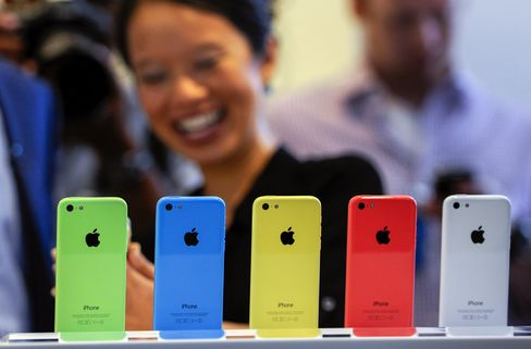 The iPhone 5C in a variety of colors.