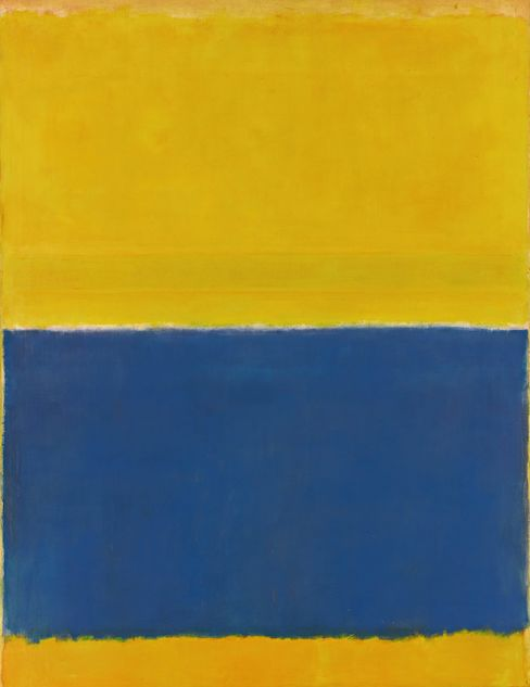 An 8-foot-tall yellow and blue Mark Rothko painting sold for $46.5 million at Sotheby's in New York.