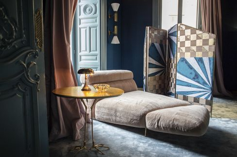 A chaise longue sits in the Palazzo Prive, a salon for top clients and VIPs at Palazzo Fendi.