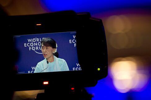 Myanmar's Opposition Leader Aung San Suu Kyi