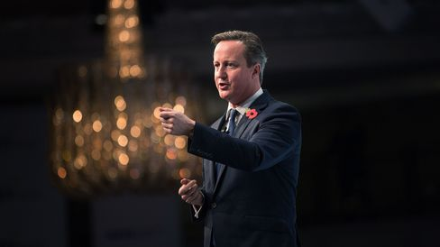 David Cameron, U.K. prime minister, gestures as he speaks during the Confederation of British Industry's (CBI) annual conference in London on Nov. 9, 2015.