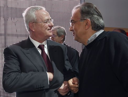 Former VW CEO Martin Winterkorn and Fiat Chrysler CEO Sergio Marchionne.