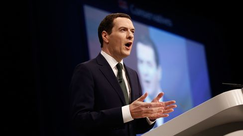 George Osborne, U.K. chancellor of the exchequer, delivers his speech at the Conservative Party's annual conference in Manchester, U.K. on Oct. 5, 2015.