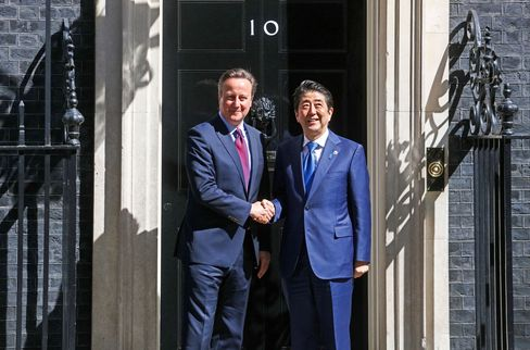 Cameron and Abe in London on May 5.