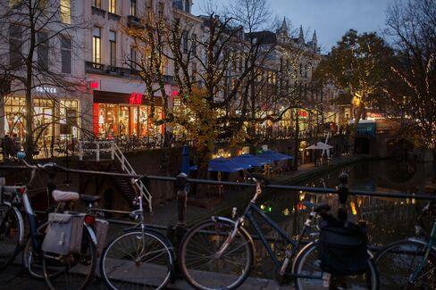 Bicycles Sit on a Bridge in Utrecht