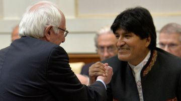 Democratic presidential candidate Bernie Sanders shakes hand with Bolivian President Evo Morales during a conference organized by the Pontifical Academy of Social Sciences in the Vatican on April 15, 2016.