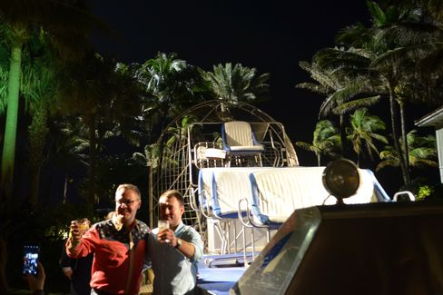 An air boat turns photo op on an outdoor plaza at the Breakers