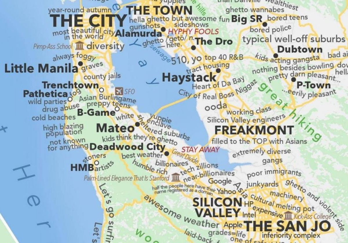 Picture of: A Profane Judgemental Urban Dictionary Map Of The San Francisco Bay Area Bloomberg
