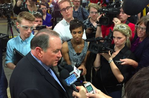 Mike Huckabee in Iowa on May 6.