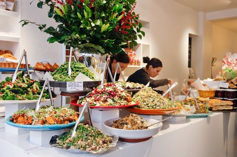Delicatessen-style salads and vegetable dishes will be a centerpiece, as in the Islingtonlocation shown here.