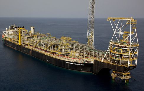 Tullow Oil's Floating Production Storage and Offloading (FPSO) tanker Kwame Nkrumah MV21 sits in the Jubilee off-shore oil field in Ghana, in this undated handout photo released to the media on Thursday, Jan. 15, 2015.