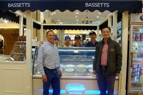Michael Strange and Sun Gongyun at Bassetts Ice Cream Kiosk in Taiyuan, China