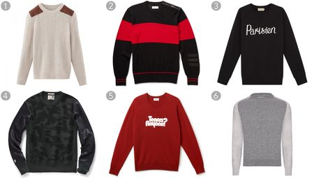 "(1) Italian cashmere-wool blend jumper, A.P.C., $395, apc.fr; (2) Leather-trim bold-stripe crewneck, Ovadia & Sons, $295, ovadiaandsons.com; (3) ""Parisien"" cotton sweatshirt, Maison Kitsune, $220, kitsune.fr; (4) Leather reverse weave sweatshirt, Todd Snyder, $198, toddsnyder.com; (5) ""Tennis Anyone?"" sweatshirt, Lacoste, $325, lacoste.com; (6) Palmer lambswool knit, Orlebar Brown, $295, orlebarbrown.com."