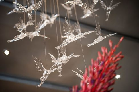 There's plenty of stork imagery throughout the elegantly decorated restaurant, including these hanging miniatures.