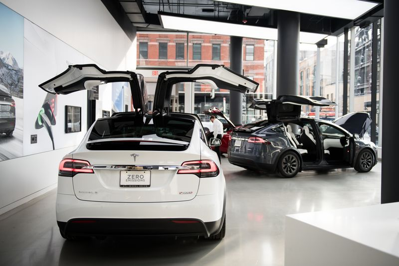 A Tesla Inc. Model X P100D Sports Utility Vehicle (SUV) Sits On Display At  The Companyu0027s Showroom In New York.