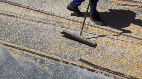 A dock worker sweeps up corn in Cape Town.