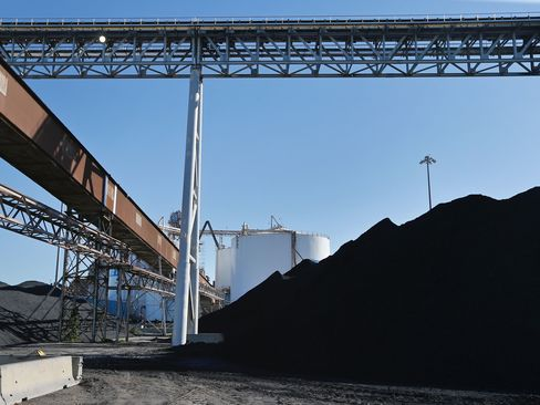 A conveyor system that transports coal in Darrow, Louisiana.