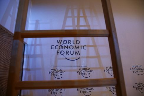 WEF Logos Sit Inside the Congress Center in Davos