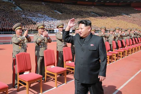 Leader of the Democratic People's Republic of Korea Kim Jong Un at the military parade celebrating the 70th anniversary of the ruling Workers' Party of Korea in Pyongyang last year.