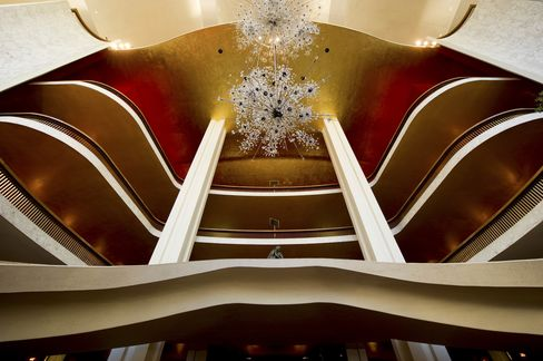 The lobby of the Metropolitan Opera House in New York City.
