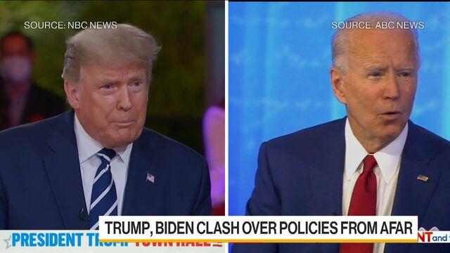 Trump, Biden Clash Over Virus From Afar in Dueling Town Halls