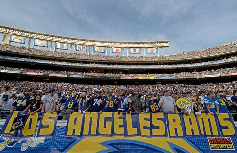 "Fans of the St. Louis Rams hold a ""Los Angeles Rams"" sign during an NFL Game in November 2014."