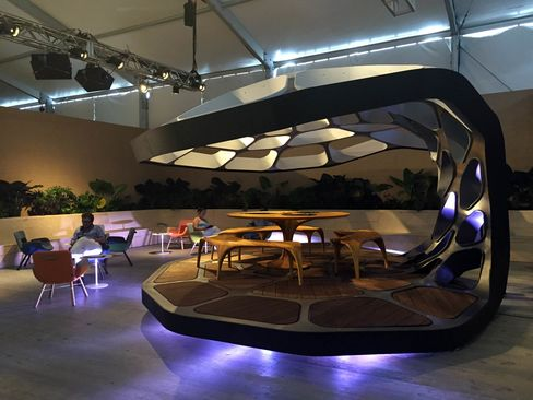 Zaha Hadid's Volu Dining Pavilion, on view at Design Miami 2015, took four people and four days to assemble. The piece comes in an edition of 24, each priced at $480,000.