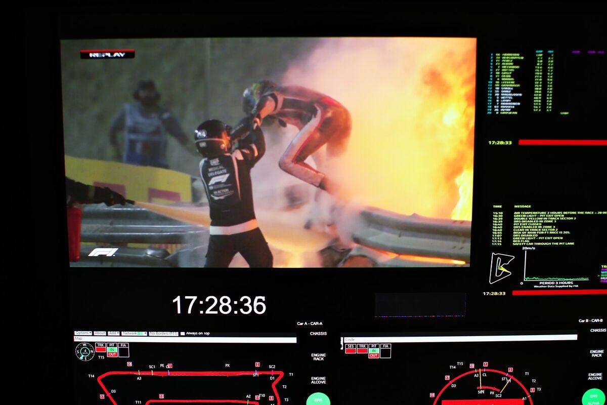Grosjean Escapes F1 Fireball At Bahrain GP After Huge Crash