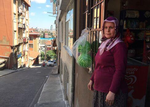 Semiha Karaogluoutside her store in Istanbul's Kaptanpasa district.