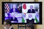 """Japan's Prime Minister Yoshihide Suga Attends """"Quadrilateral"""" Video Meeting"""