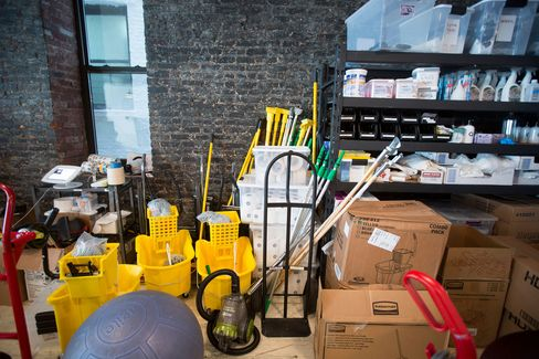 Cleaning supplies are stored in the offices of Managed by Q.