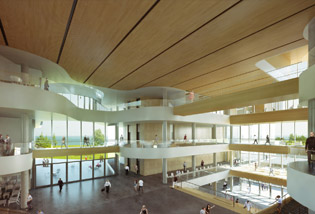 The Collaboration Plaza will be the heart of the campus and a place for students to gather