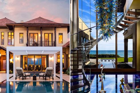 Here, $26.5 million gets you a pool (left) and a living aquarium underneath glass floors (right).