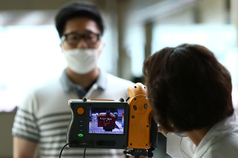A thermographic camera at a subway station in South Korea