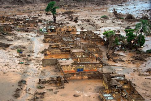 Dam burst damage in Bento Rodrigues, Brazil on Nov. 6, 2015.