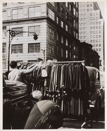 Pushing racks through the streets of the Garment District in 1944.