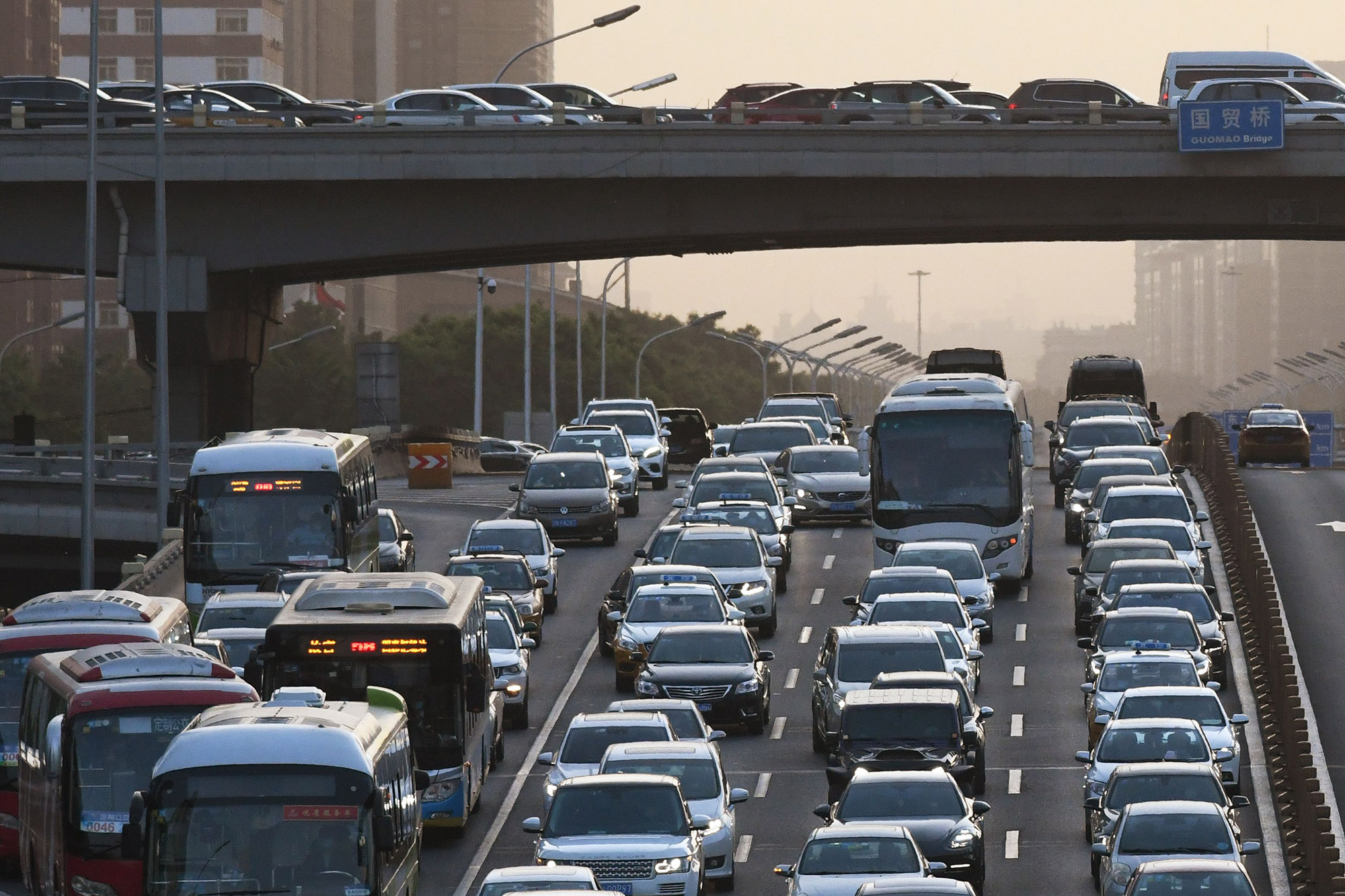 Traffic on an overpass in Beijing on May 12.