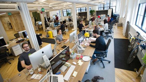 Start up workers in their office space in Toronto, Ontario, Canada.