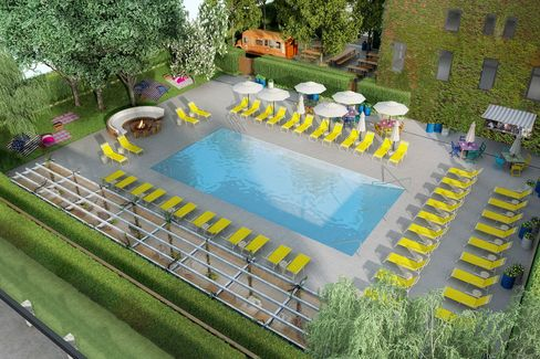 A rendering of the pool at the new Asbury hotel.