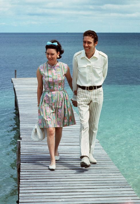 Princess Margaret and her newlywed husband Earl of Snowdon on their March 1967 honeymoon in the Caribbean.