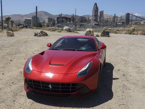 The Ferrari F12 Berlinetta in the Mojave Desert.