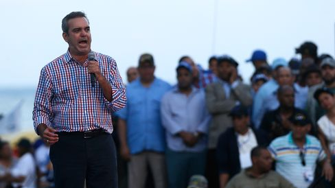 Luis Abinader speaks at a rally on May 13.
