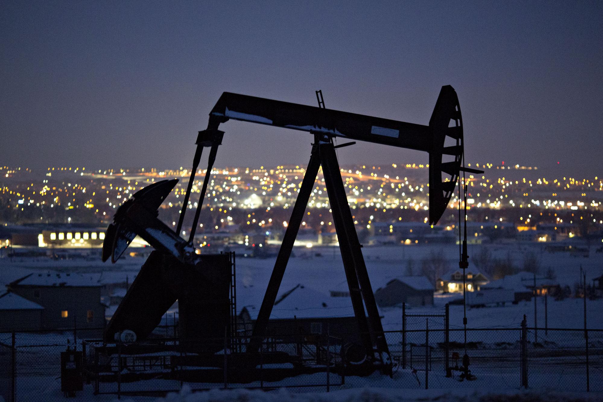 A pumpjack at an oil well in North Dakota, U.S.