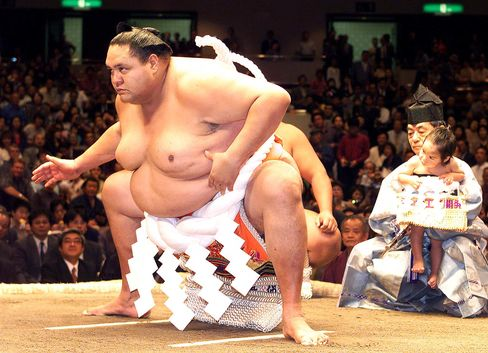 Size is relative: sumo wrestler Akebono.