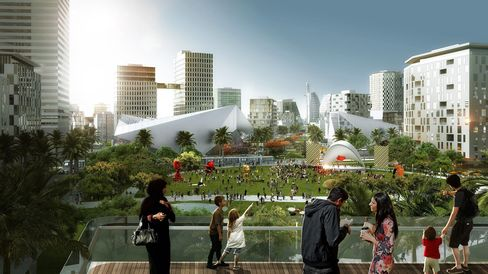 An artist rendering of the proposed Mall of the World Development.